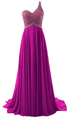 Beads Long Dress Prom Chiffon Gown with Women's Bridesmaid Anlin Shoulder Fuchsia One qIvvwX