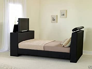 TV Bed King Size Black Leather