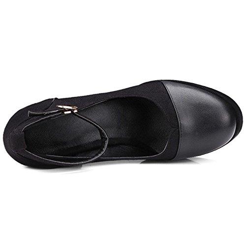 COOLCEPT Women Fashion Platform Block High Heels Pumps Court Shoes Black 357 s9D1K