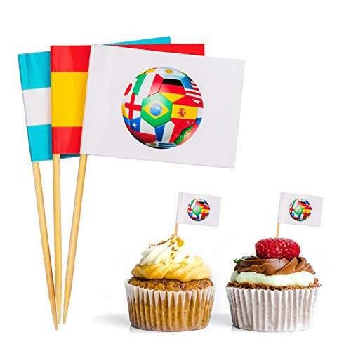 jollylife 2018 World Soccer Game Toothpick International Flags - Cupcake Toppers Cocktail Sticks Picks Party Supplies