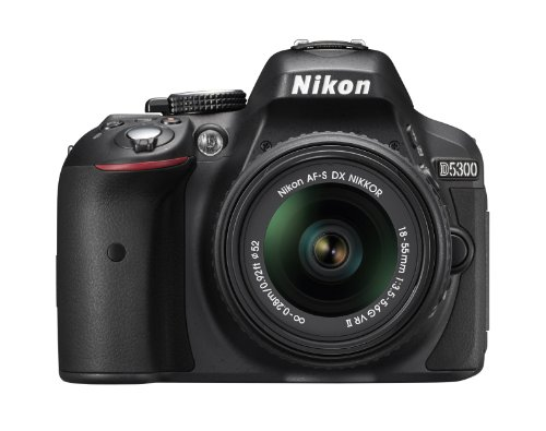 Nikon D5300 24.2 MP CMOS Digital SLR Camera with 18-55mm f/3.5-5.6G ED VR Auto Focus-S DX NIKKOR Zoom Lens (Black) (Nikon D5100 Slr Digital Camera)