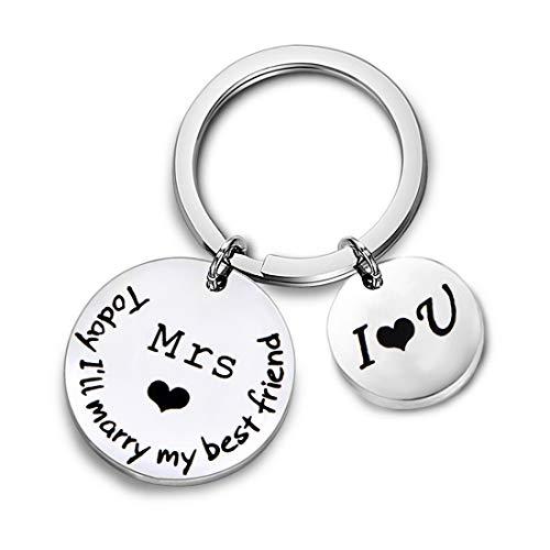 Zuo Bao Wedding Gift Couple Keychain Today I'll Marry My Best Friend Husband Keychain for Her (Mrs Keychain)]()