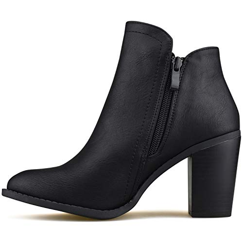 Premier Comfortable Toe Walking Closed Bootie Zip Side Black Boot Low Casual Women's Heel Standard vPWRrv