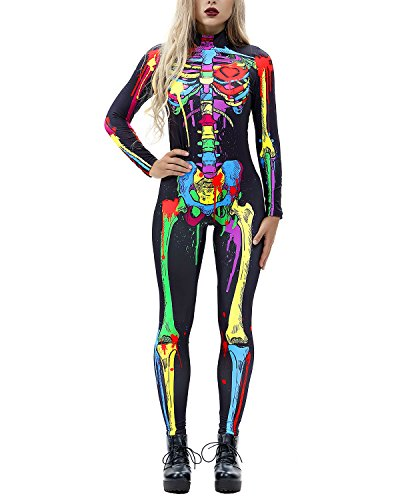 Women 3D Style Halloween Cosplay Costumes Jumpsuit Bodysuit (X-Large, Colorful Skull)]()