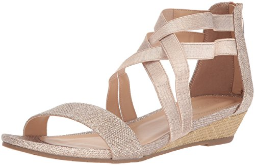 Kenneth Cole REACTION Women's Great Stretch Low Wedge Sandal, Rose Gold, 7 M US ()