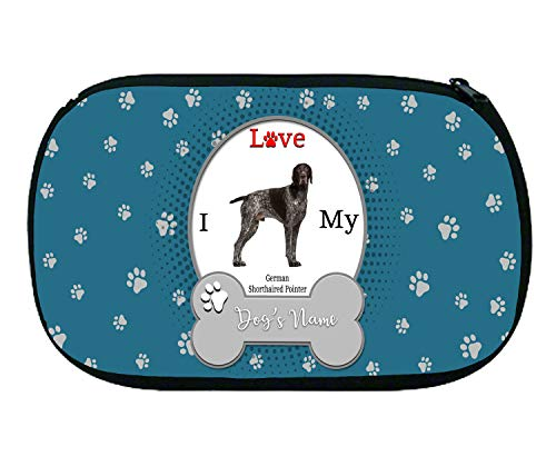 (BRGiftShop Personalized Custom Name I Love My Dog German Shorthaired Pointer Neoprene Makeup Cosmetic Bag)