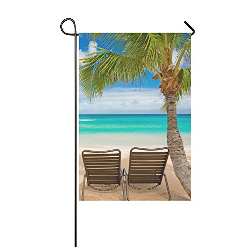 Yard Home Outdoor Decor - Ropical Scene Palm Beach Summer Holiday Garden Decor Flag,12