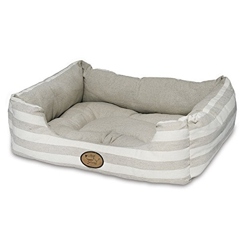 Best Pet Supplies Premium Plush Reversible Suede Bed for Dogs & Cats - Tan Stripes, XXL (35 x 28 x11.75 ()