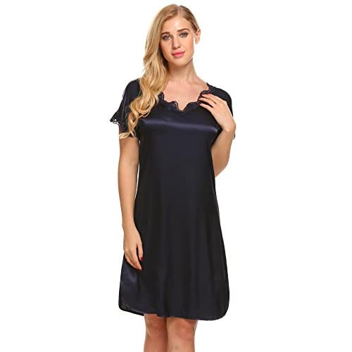 New Ekouaer Nightgown Women's Lace Trim V Neck Short Sleeve Sleepwear Satin Nightdress S-XXXL