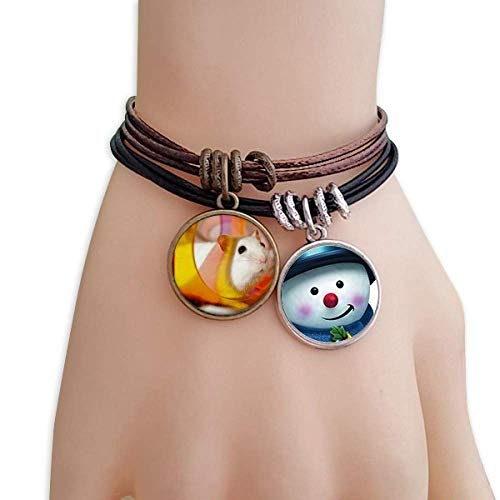 DIYthinker White Rat Animal Pet Game Toys Snowman Leather Rope Bracelet Handmade ()