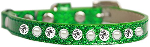 Mirage Pet Products Pearl and Clear Jewel Ice Cream Cat safety collar Emerald Green Size - Tart Pearl