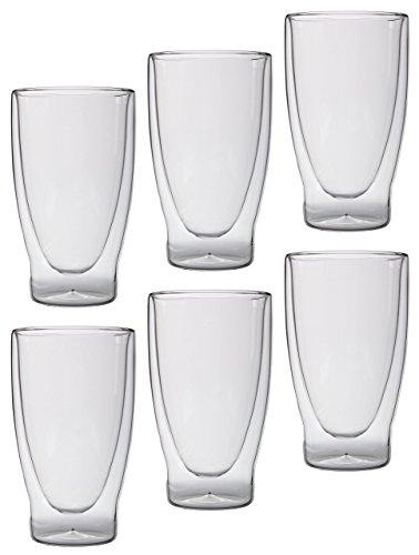 Feelino Lattechino Grande doppelwandige Latte Macchiato-Gläser, 6er-Set 400ml XXL Thermo-Cocktailgläser mit Schwebe-Effekt im Geschenkkarton
