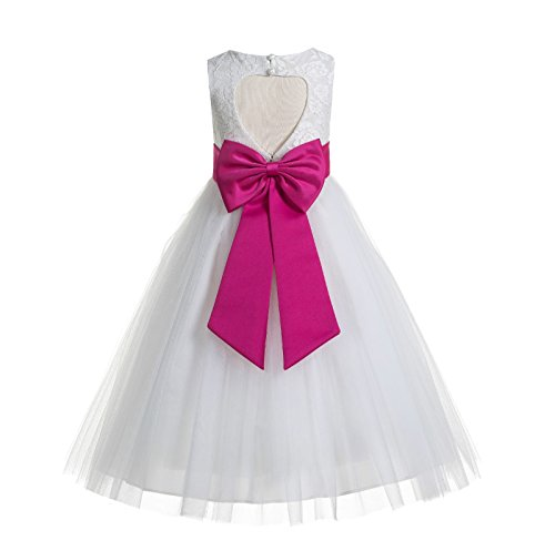 ekidsbridal Floral Lace Heart Cutout White Flower Girl Dresses Fuchsia First Communion Dress Baptism Dresses 172T 8