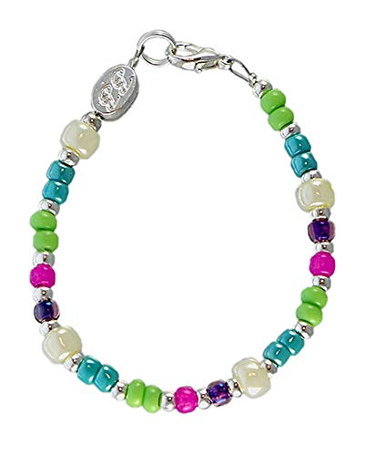 Beaded Bracelets with Silver-Plated Beads, Glass Beads, Lobster-Claw Clasp and Strong 7-Strand Wire. Beautiful, Durable Fashion Bracelet. Sizes Infant to 8 yrs Old (XSmall, Small, Medium, Large).