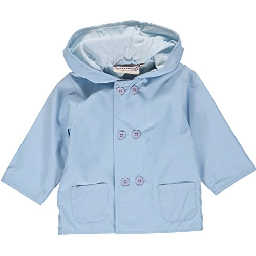 - Boutique Collection Light Blue Hooded Jacket-Raincoat w/Double Buttons & Cotton Lining - Girls and Boys