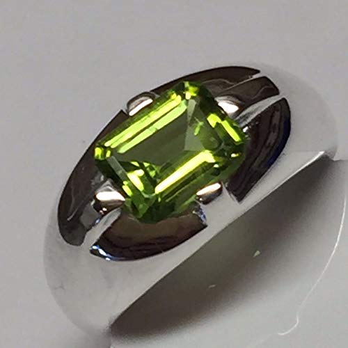 Natural 2ct Emerald Cut Apple Green Peridot 925 Solid Sterling Silver Unisex Ring sz 6, 7, 7.75, 8