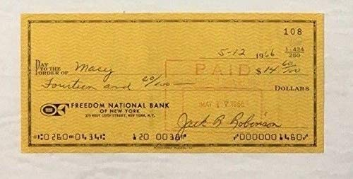Jackie Robinson Autographed Signed Personal Check Letter Autographed Signed Rachel Robinson JSA