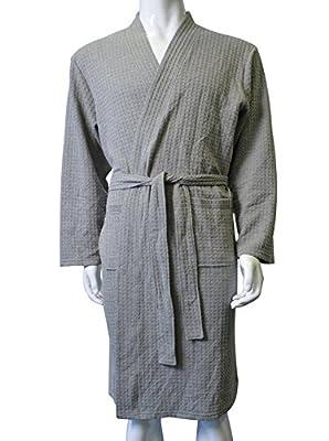 Men's Robe Kimono Waffle Weave Spa Bathrobe Lightweight Hotel Sleepwear By Cece