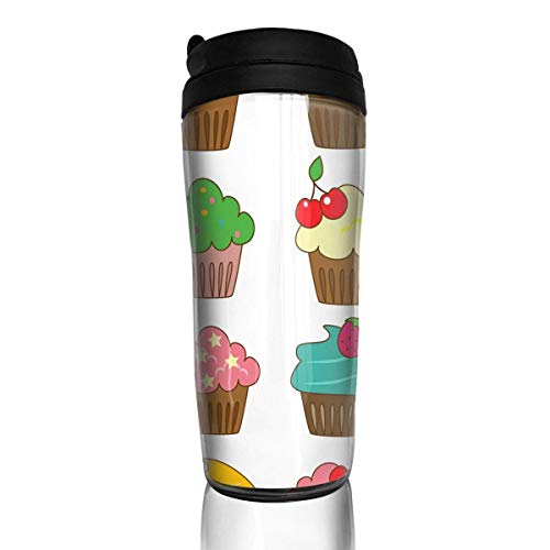 Custom Reusable Coffee Cup Colour Cake Tumbler Vacuum-Insulated Travel Mug Hot Or Cold,12 Oz.with Lids -