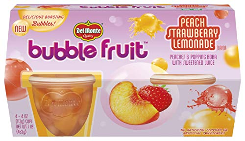 Del Monte Bubble Fruit, Peach Strawberry Lemonade, (Each 4 Count of 4 oz Cups) 16 oz, Pack of 6