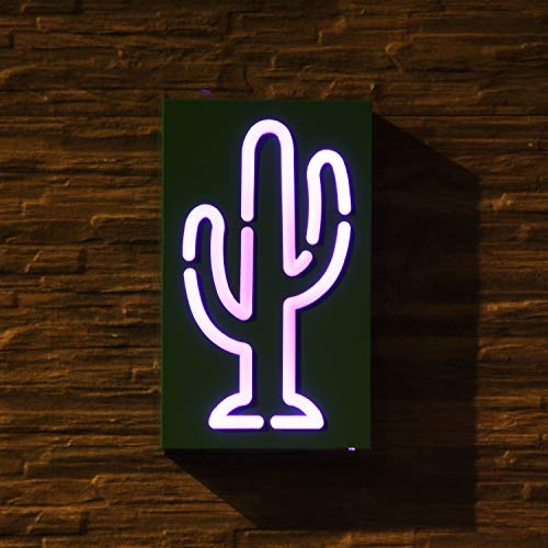Cactus Led Neon Sign, Metal Christmas Neon Night Light Signs For Kid's Bedroom, 16 Color Changing Decor Lights with Remote Control & Battery/USB Operated, Decoration Idea For -