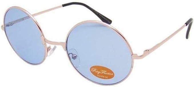 Chicnet Hochwertige Damen Herren Sonnenbrille Rundglas Hippie John Lennon Brille 400uv Rund Runde Glaser Langer Steg Aus Metall Und Acryl Verspiegelt Und Getont Blau Getont Amazon De Bekleidung