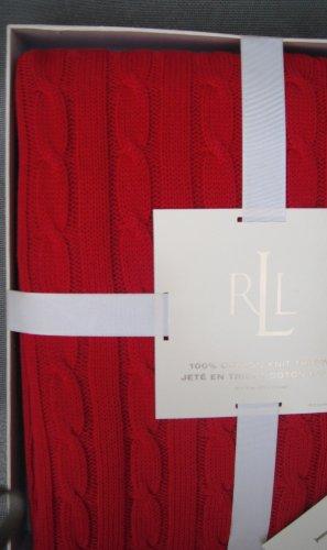 Lauren Ralph Lauren Blanket, Cable Knit Throw, Red 50 X 70 Inches