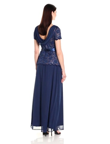 ONYX Nite Womens Long Trans Lace Bodice Gown