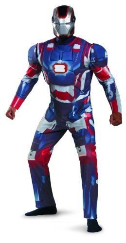 Disguise Marvel Iron Man 3 Iron Patriot Deluxe Mens Adult Costume, Blue/Red, X-Large/42-46