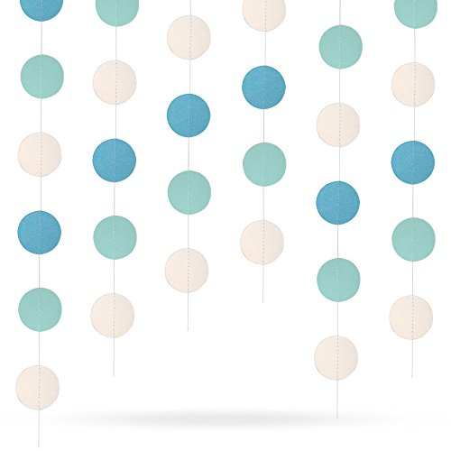 45.9 Feet Circle Dots Paper Garland Hanging Decorations(Blue and White Gradient) for Wedding Party Birthday Decorations by Erlvery DaMain