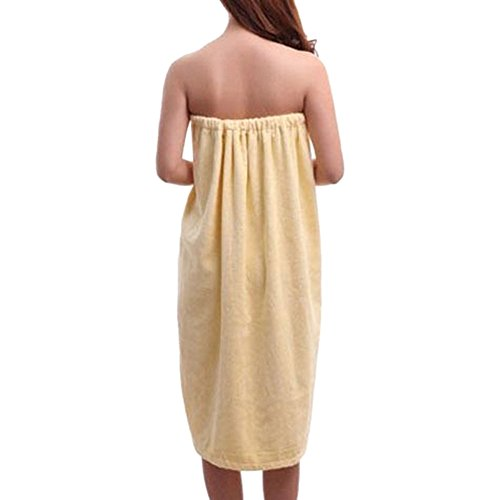 Yellow Spa Wrap (TopTie Women's Cotton Terry Spa Shower Bath Towel Wrap-Light Yellow-S/M)
