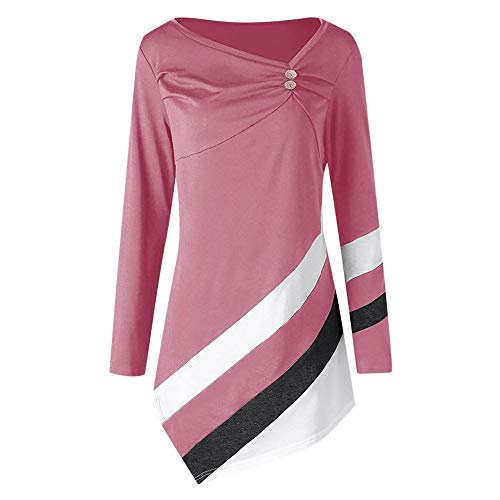 Women Blouse Rakkiss Women Autumn Striped Tops Asymmtrical Tunic Winter Tops Plus Size T-Shirts (Pink, XL)
