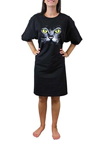 Amy Alder Cat Face Sleep Shirt Nightshirt Nightgown, Black