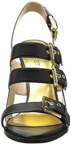Nine West Howrude de cuero de tacón de la sandalia Black