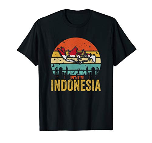 Vintage Indonesia Map Flag T-Shirt Love Indonesia