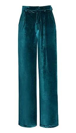 Mujeres Elegante Pantalones de Terciopelo Modernos Palazzo Anchos Pierna Pantalones Azul lyons S