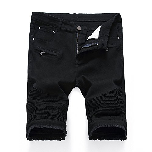 Kool Classic Mens Skinny Ripped Destroyed Distressed Jeans Denim Shorts Black W38