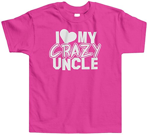 Threadrock Little Girls' I Love My Crazy Uncle Toddler T-Shirt 4T Hot Pink (I Love My Crazy Kids)