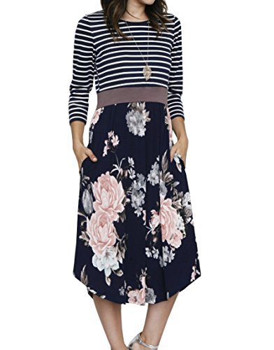 Meilidress Womens 3/4 Sleeve Striped Floral Print Patchwork T-Shirt Midi Dress with Pockets