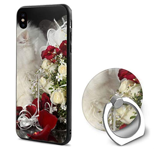 Holiday Roses Bouquet cat White Fluffy IphoneX case with Ring Stand Soft TPU Slim Case Cover for iPhone X ()
