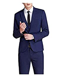 HSLS Men's 3 Piece Suit Slim Fit One Button Business Suits Groom Tuxedos Jacket Vest Trousers Navy Blue