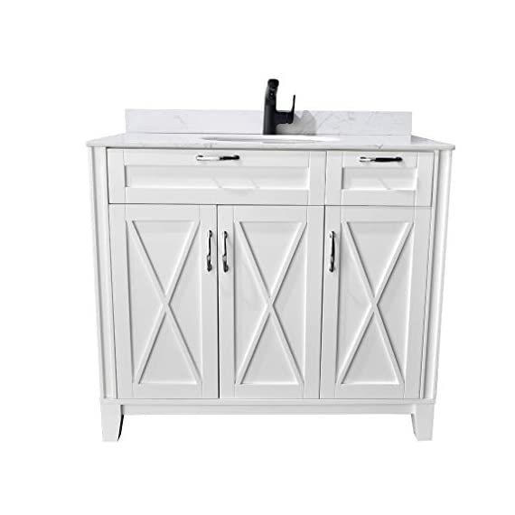 "PHASAT Bathroom Vanity with White Marble Top, Single Sink 40-inch Bath Vanity without Mirror,Soft White,3 Doors,1 Small Drawer,40"" W x 20.6"" D x 35.2""H,JH501B - High-end furniture-grade construction. Crafted of laminated solid wood! Absolutely no MDF or cheap particle board anywhere in this product White Marble countertop,Round Under-Mount White Ceramic Sink,Does not include faucet, drain assembly or P-trap Single sink bathroom vanity with three doors,one small drawers and One Decorative Faux Drawer,hardwood Frame and legs - bathroom-vanities, bathroom-fixtures-hardware, bathroom - 41T6fZpdBxL. SS570  -"