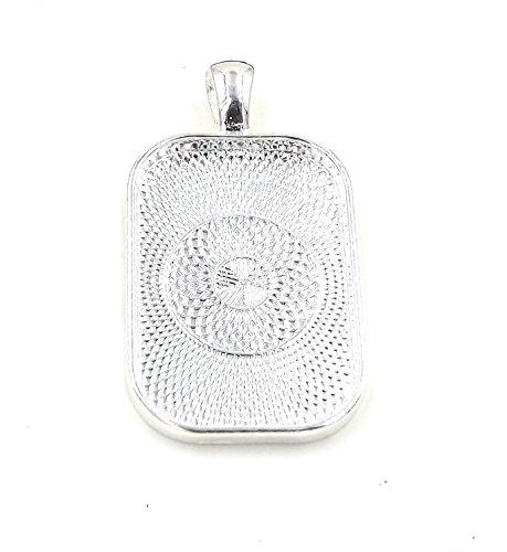 20 Deannassupplyshop Rectangle Pendant Trays - Silver - 20X30 - Pendant Blanks Cameo Bezel Settings Photo Jewelry - Custom Jewelry Making
