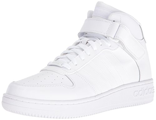 adidas NEO Men's Team Court Mid Basketball Shoe, White/White/White, 12 M US
