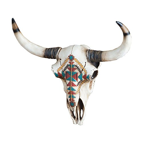 Aztec Wall Mount - Realistic Aztec Tribal Faux Steer Bull Cow Skull- Western Wall Mount Decor