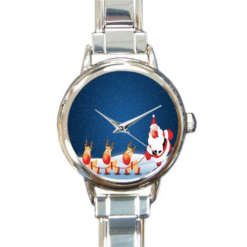 Personalized Watch Funny Father Christmas with Reindeer Round Italian Charm stainless steel Watch