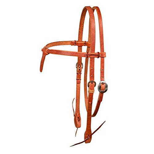 Amish USA Horse Tack Hermann Oak Leather Knotted Browband Bridle 975H305 ()