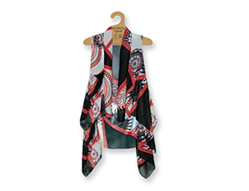 Lavello Sheer Designer Vest, Black/Red Sun from Lavello