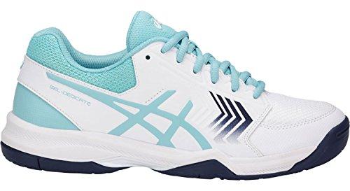 ASICS E757Y Women's Gel-Dedicate Running Shoe, White/Porcelain Blue/Indigo Blue - 8 B (M) US by ASICS