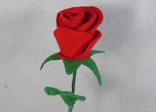 Red Long Stem Rose made of Felt Red Rose - Red Flower -- Artificial Long Stem Flower - Felt Flower - Artificial Rose - Fake Rose - Fake Flower - Floral